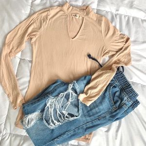 Hollister Cut Out Long Sleeve High Neck Pink Shirt